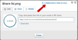 "Viewing Options in Box--change ""Collaborators Only"" to ""Public"""